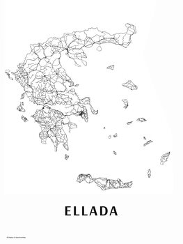Map Ellada black & white