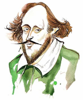 Taidejuliste English playwright and poet William Shakespeare; caricature