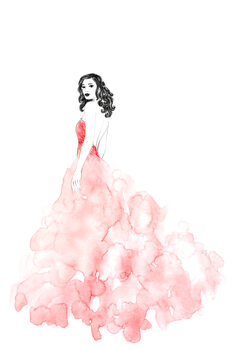 Illustration Fashion illustration long coral dress