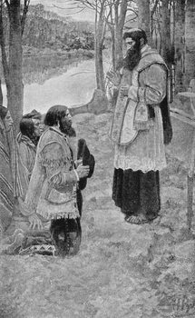 Reprodução do quadro Father Hennepin Celebrating Mass