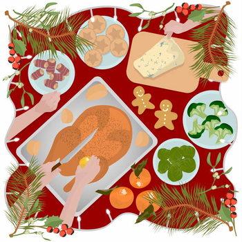 Reprodução do quadro Festive Food