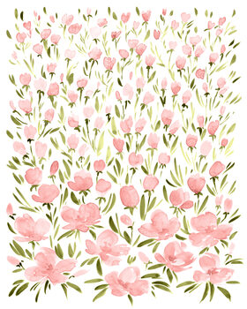 Illustration Field of pink watercolor flowers