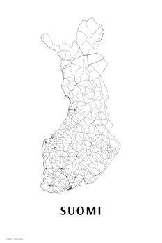 Map Finland black & white