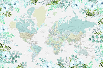 Map Floral bohemian world map with cities, Marie