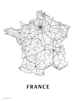 Map France black & white