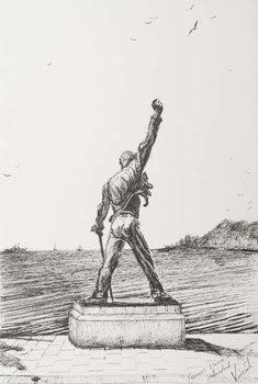 Taidejuliste Freddie Mercury Statue Montreux Switzerland, 2009,
