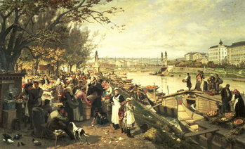 Fine Art Print Fruit market in Schazel, near the Maria Theresa Bridge, Vienna