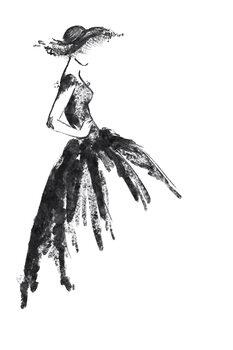 Illustration Full skirt dress fashion illustration in black and white