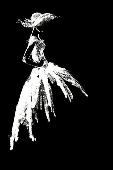 Illustration Full skirt dress fashion illustration in black