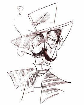 Reprodução do quadro Giacomo Puccini, Italian opera composer , sepia line caricature