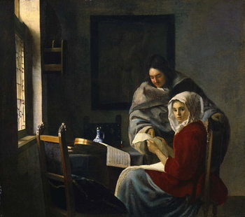 Taidejuliste Girl interrupted at her music, c.1658-69
