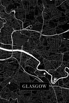 Map Glasgow black