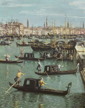 Fine Art Print Gondoliers near the Entrance to the Grand Canal and the church of Santa Maria della Salute, Venice