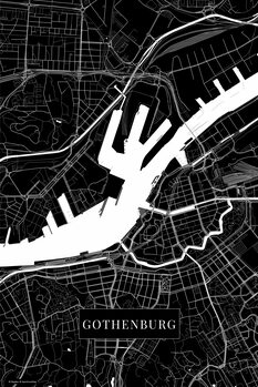 Map Gothenburg black