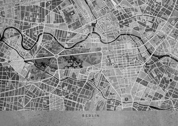 Map Gray vintage map of Berlin