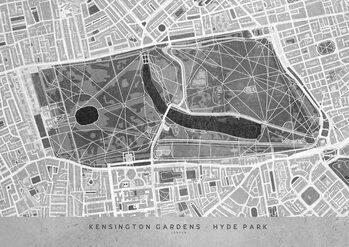Map Gray vintage map of Kensington Garden London