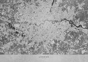 Map Gray vintage map of London