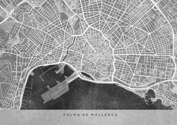 Map Gray vintage map of Palma de Mallorca