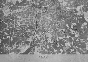 Map Gray vintage map of Prague
