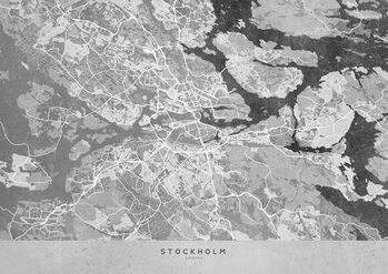 Map Gray vintage map of Stockholm