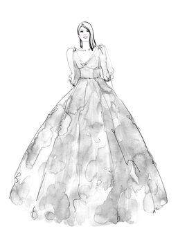 Illustration Gray watercolor dress fashion illustration