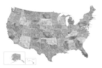 Map Gray watercolor map of the US with state capitals