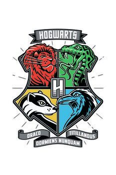 Art Poster Harry Potter - Hogwarts houses