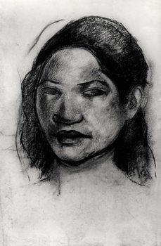 Fine Art Print Head of a Tahitian (charcoal on paper)