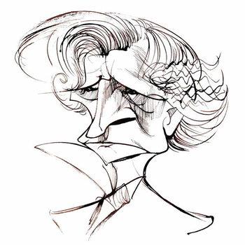 Fine Art Print Hector Berlioz, French composer , sepia line caricature