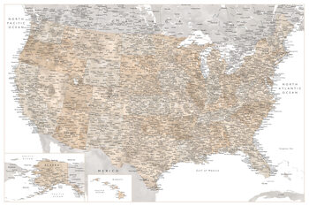 Map Highly detailed map of the United States in neutral watercolor