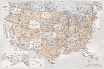 Map Highly detailed map of the United States in rustic style