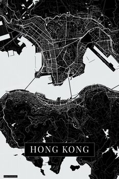Map Hong Kong black