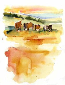 Fine Art Print Horses at Sunset, 2015,
