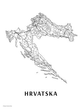 Map Hrvatska black & white