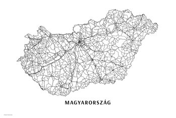 Map Hungary black & white