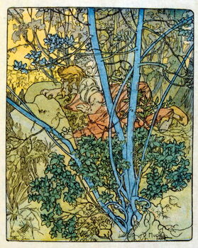 Fine Art Print Illustration by Alphonse Mucha from Clio a work by French author Anatole France. 1900. Mucha . was a Czech Art Nouveau painter