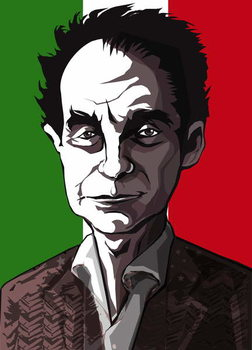 Taidejuliste Italo Calvino, Italian author , colour 'graphic' caricature