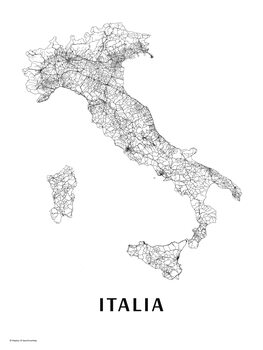 Map Italy black & white