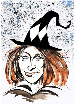 Taidejuliste J K Rowling - caricature as a witch
