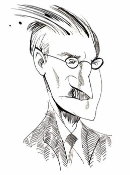 Taidejuliste James Joyce - caricature of Irish writer