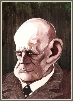 Taidejuliste Jean Sibelius, Finnish composer , colour ink caricature