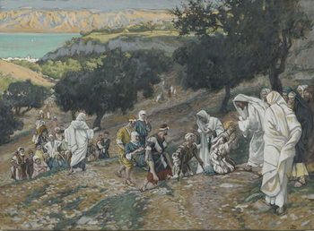 Fine Art Print Jesus Heals the Blind and Lame on the Mountain