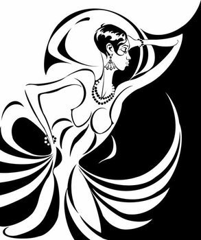 Fine Art Print Josephine Baker, American dancer and singer , b/w caricature, in profile
