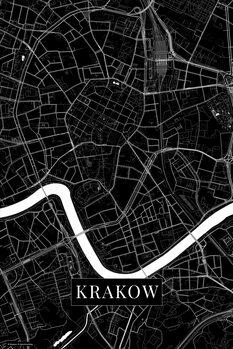 Map Krakow black