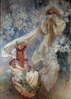 Fine Art Print La Madonna au Lys Painting by Alphonse Mucha  1905 Private Collection