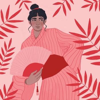 Illustration Lady with a fan