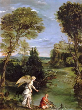 Taidejuliste Landscape with Tobias laying hold of the Fish