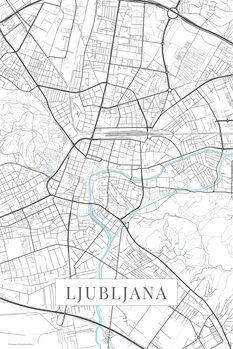Mapa Ljubljana white
