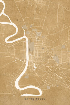 Map Map of Baton Rouge, LA, in sepia vintage style