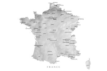 Map Map of France in gray watercolor